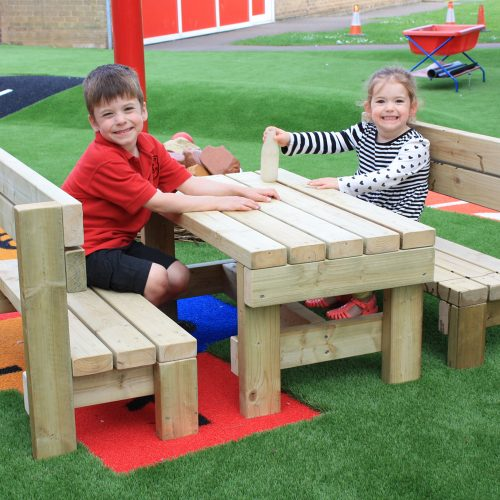 The Langham Bench is a three piece childrens picnic bench - Playscape Playgrounds