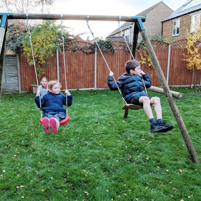 Double Garden Swing Set - Playscape Playgrounds 5